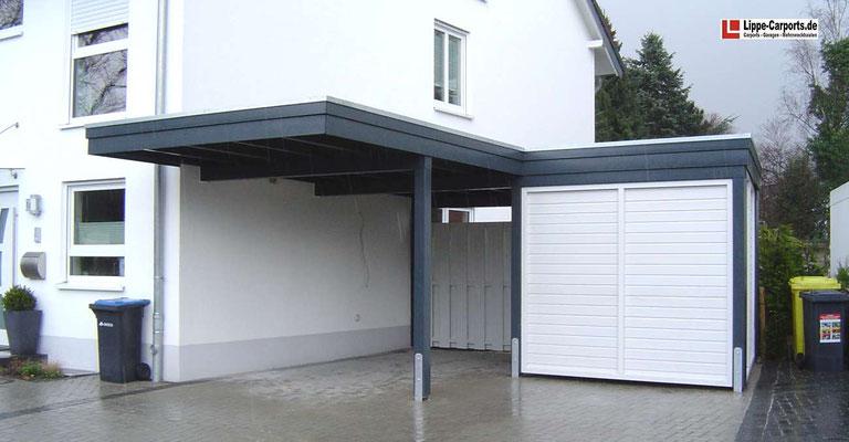 Beispiel-Nr. WA-17    Wandcarport KÖLN im Ruhrgebiet. Hier wurden wg. Ytong-Ausführung der Hauswand die Tragbalken direkt ins Mauerwerk eingelassen.