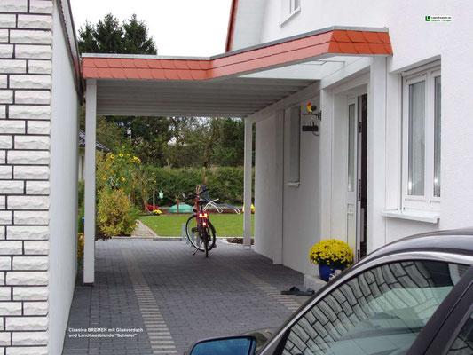 Beispiel-Nr. BR-1   Bremen-Carport mit angeschlossenem Haustürvordach