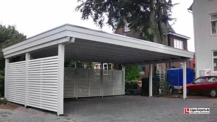Beispiel Nr. SORC11    Individual Dreiercarport an einer Jugendstilvilla in Hamburg. Weißgrundierung als Extra.