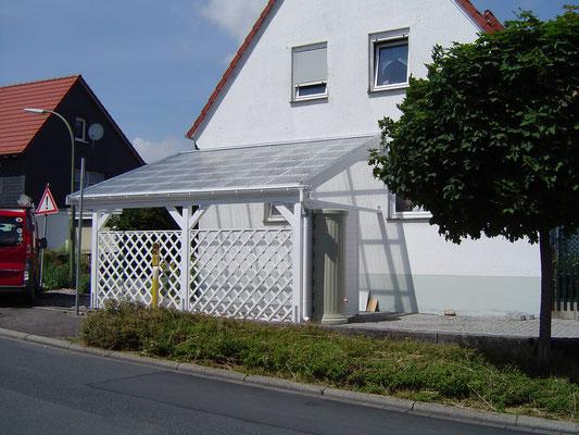Beispiel-Nr. GD 42    Schlichtes Schrägdachcarport mit Trapez-Lichtplatten und Rankgittern. Weißgrundierung.