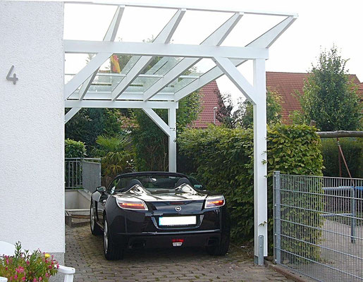 Beispiel Nr. GD23   Glasdach-Carport VERONA exclusiv...die richtige Überdachung für Ihr Cabrio.