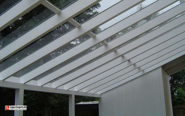 Beispiel-Nr. LDS-18.2   Detail Dachverglasung, Abdichtung aussenseitig mit wetterfesten Aluminiumsprossen.