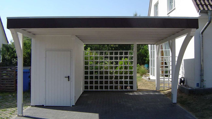 individual flachdach carports carport garage in holz stahl alu. Black Bedroom Furniture Sets. Home Design Ideas