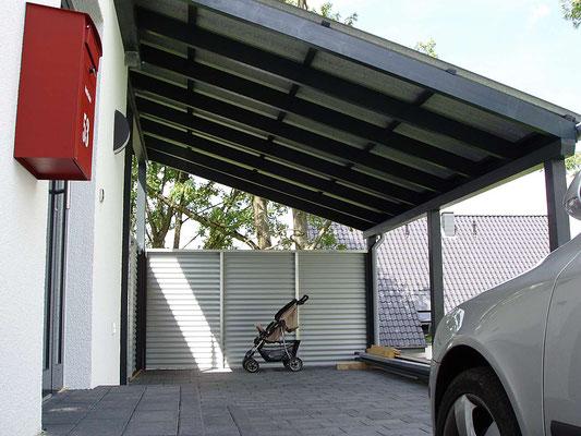 Beispiel-Nr. LDS-8.3    Zum Schutz gegen Kondenswasserbildung in der kalten Jahreszeit wurde die Dachplatten mit einer Antitropfbeschichtung versehen