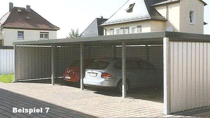 Beispiel Nr. STRC7  Reihenanlage für 4 PKW, Seitenwände und Rückwand mit Stahlwelle Sichtblenden 4fach eingefasst
