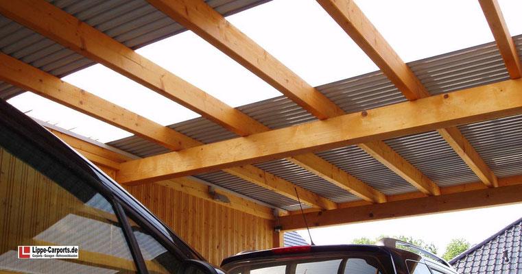 Beispiel-Nr. WA-16.4   Detail Lichtausschnitt. hier mit transparenten Trapezplatten für besseren Lichteinfall
