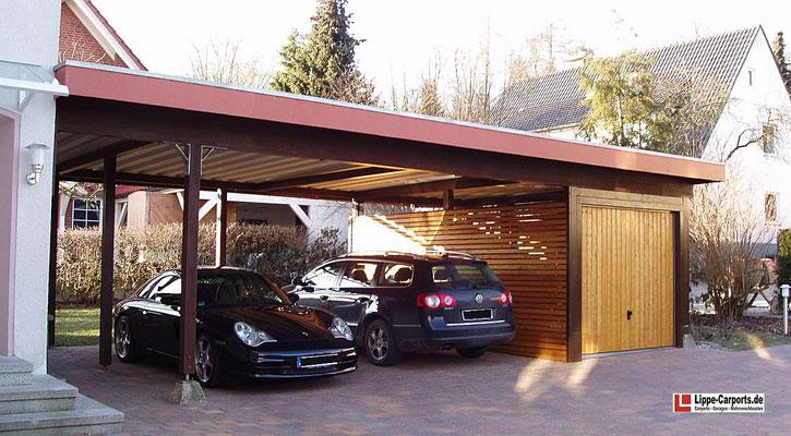 Beispiel-Nr. MGR-25    Doppelcarport MÜNCHEN-GR mit seitlichem , 18m² großem Abstellraum. Hier mit Garagentor als Oldtimer-Garage nutzbar.r edher