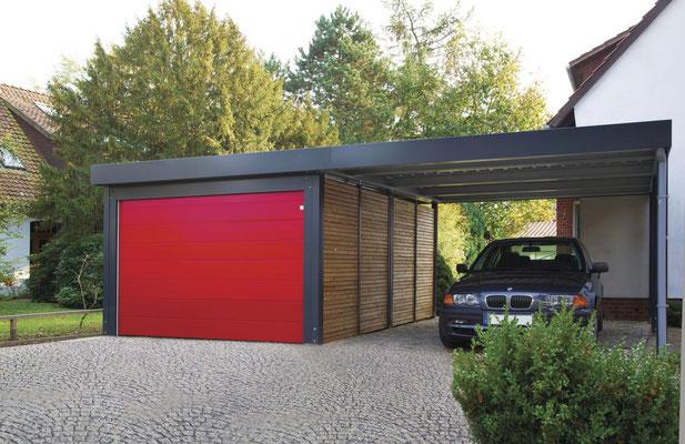 Beispiel-Nr. AnCa2     Anbaucarport an Design-CarportGarage