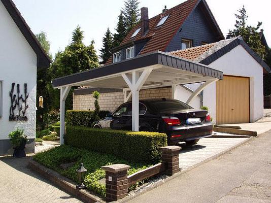 Beispiel-Nr. BR 13.3   Ansicht Carport Bremen von schräg-vorn.