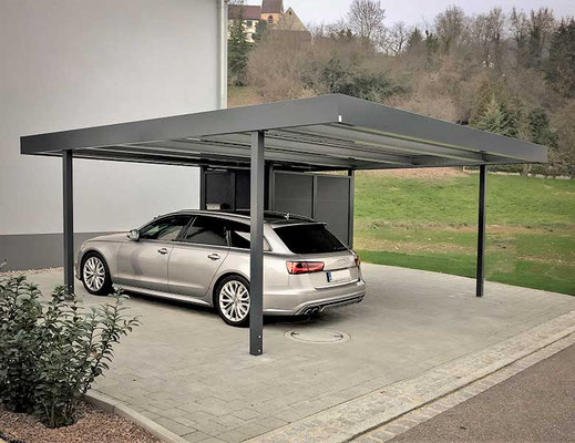 Beispiel-Nr. ST-J   Design-Doppelcarport mit integrierter Abtrennung für 2-Rad oder Müll-Gefäße