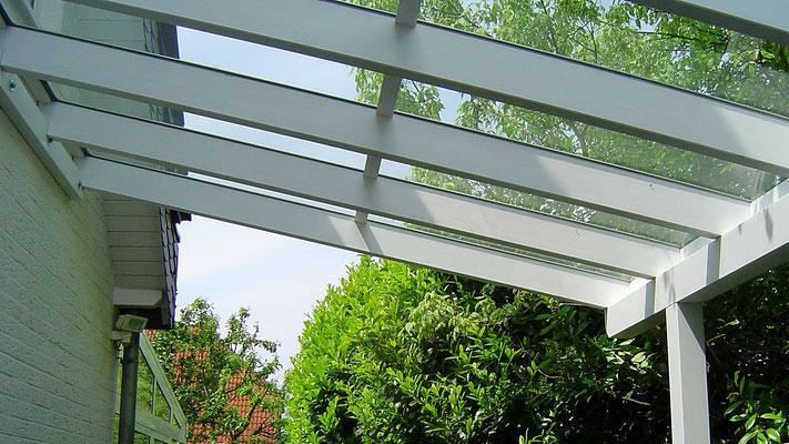 Beispiel-Nr. GD33.1     Glasdach-Carport Detail Dachkonstruktion, VSG Verbundsicherheitsglas mit Mittelstoß