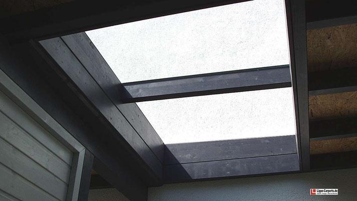 Beispiel Nr. GD26.2    Glas-Dachaufsätze bringen viel Licht in das Carport und können an fast jeder Stelle eingeplant werden.