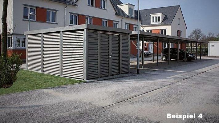 """Beispiel Nr. STRC4   Stahl-Reihencarport in RAL-Farbton """"nach Wunsch"""", sep. 2Rad-Box geschlossen mit Stahlwelle-Verkleidung im gleichen Farbton"""