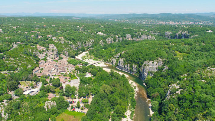 Aerial view of Labeaume in southern Ardèche