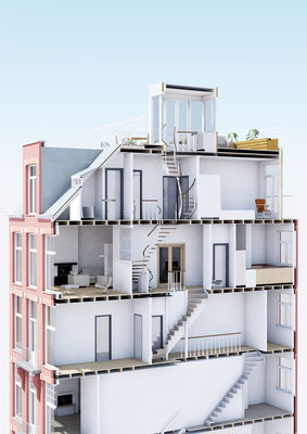 doorsnede in perspectief van het bovenappartement