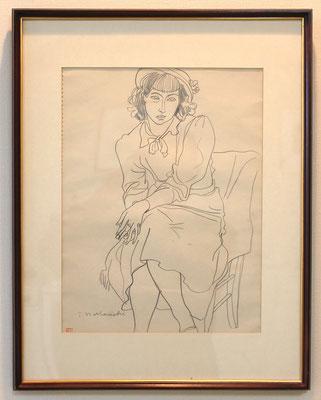中西利雄   婦人像  鉛筆、紙  1940年代