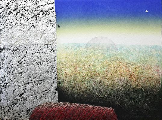 為金義勝 二つの月ⅡーS 木版画、コラグラフ 1996年