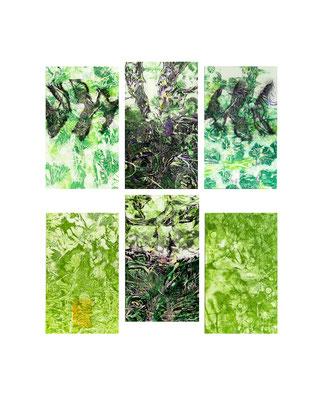 Masato Nagai/永井雅人 「Textures 2016-2」銅版画、油彩、和紙 2016年