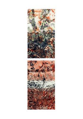 Masato Nagai/永井雅人 「Textures 秋」銅版画、油彩、和紙 2016年