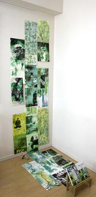 Masato Nagai/永井雅人  「夢の引用 映像から音を削る」コラグラフ、銅版画、モノタイプ、デジタルプリント、オイルパステル 2016年
