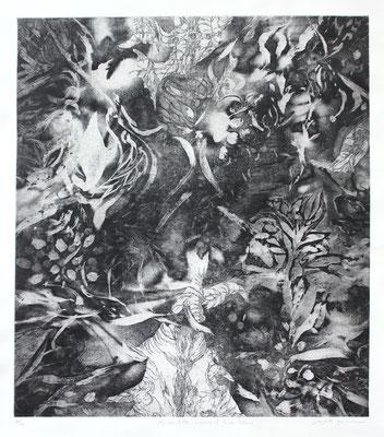 Masato Nagai/永井雅人 「My way of life-In memory of Toeko Tatsuno」銅版画、紙 2016年