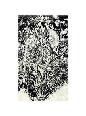 Masato Nagai/永井雅人 「花々の心臓-In memory of Noriko Ueda」銅版画、紙 2016年