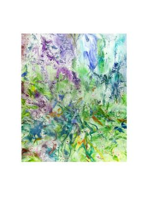 Masato Nagai/永井雅人 「Textures Green」油彩、紙 2017年