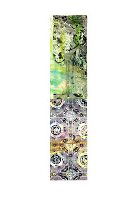 Masato Nagai/永井雅人 「シルクロードの光」デジタルプリント、モノタイプ、コラージュ、紙 2017年