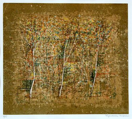 福井良之介 風景   孔版画、紙