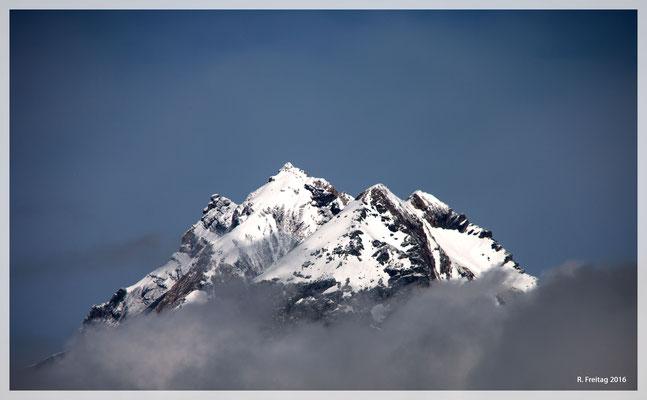 Verschneite Berggipfel im Juni (8976)