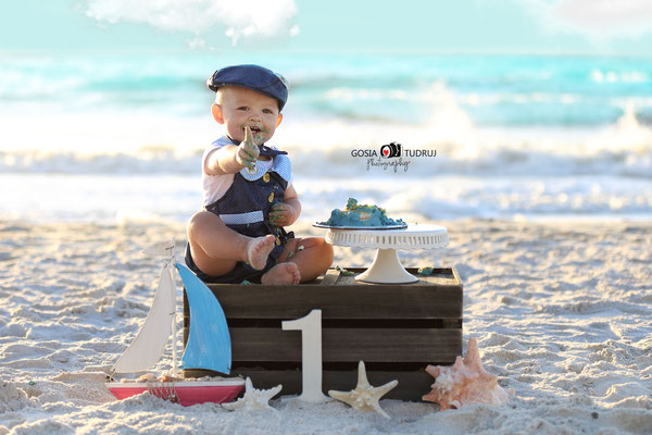 Birthday photo session in the beach. Kids photo shot.  Baby boy pictures in ocean.  Photographer Port St. Lucie Florida.  Malgorzata & Steve Tudruj  215-837-6651   Photography servise Fl, NJ, PA, NY www.momentsinlifephoto.com