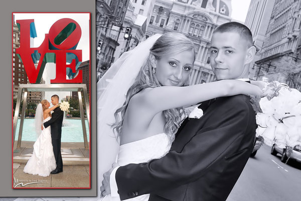 Professional wedding photographers  Gosia & Steve Tudruj 215-837-6651 Photographer Philadelphia, PA, NJ, NY, MD, DE Specializing in wedding photography, event.  www.momentsinlifephoto.com  Wedding packages start from $845. Book Now! Photo images Love Park