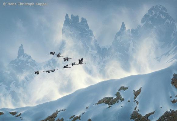 """Crossing the Pyrenees - Migrating Cranes"", Acryl auf Malplatte, 55 x 80 cm"