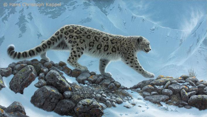 """Schneeleopard"", Acryl auf Leinwand, 45 x 80 cm"