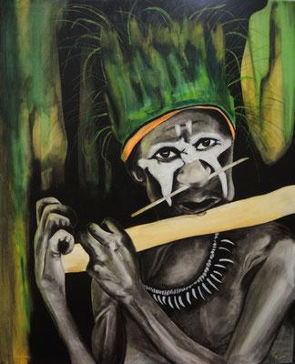 Flötenspieler Papua Neuguinea    90cm x 110 cm   Preis a.A.