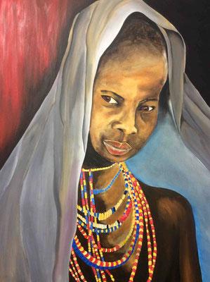 afrikanisches Mädchen  80cm x 100 cm   Preis a.A.