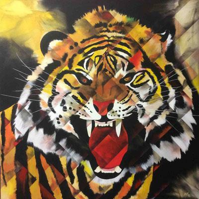 brüllender Tiger 100cm x 100 cm    Preis a.A.