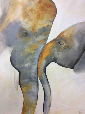 Elefant mit Kind 60 cm x 80 cm   Preis a.A.