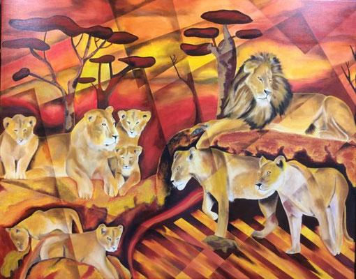 Löwen  150 cm x 120 cm x 5 cm   Preis a.A.