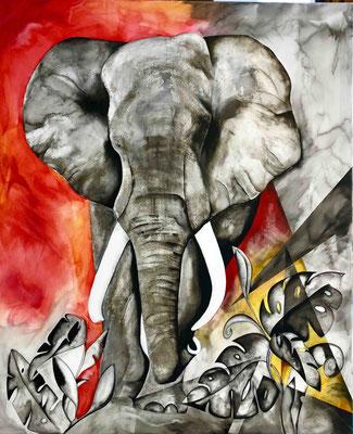 Elefant s/w rot  90cm x 110cm