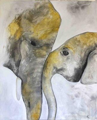 Elefant mit Kind hell   90cm x 110cm
