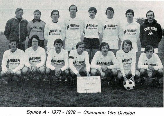 Photo de l'équipe fanion championne de 1ère division - Source : Stand En Garde Airaines, 50 ans,  1929-1979, page 27
