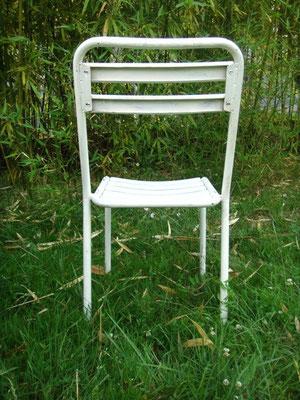 Chaises de jardin à lattes métalliques vintage