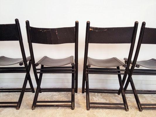 Chaises pliantes noires cuir italiennes