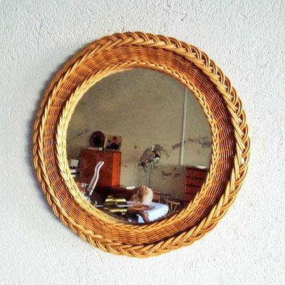 miroir-rotin-rond-vintage
