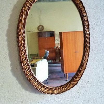 Miroir rotin grand ovale vintage