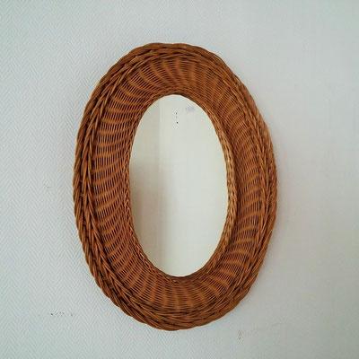Miroir rotin ovale vintage