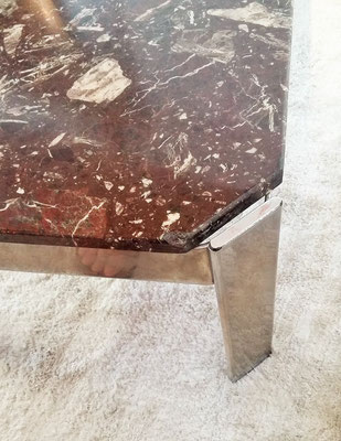 Table basse chrome et marbre vintage