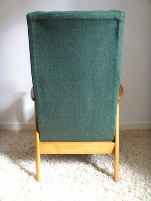 Grand fauteuil bois vintage vert