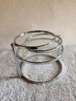 Table basse chrome et verre vintage années 70